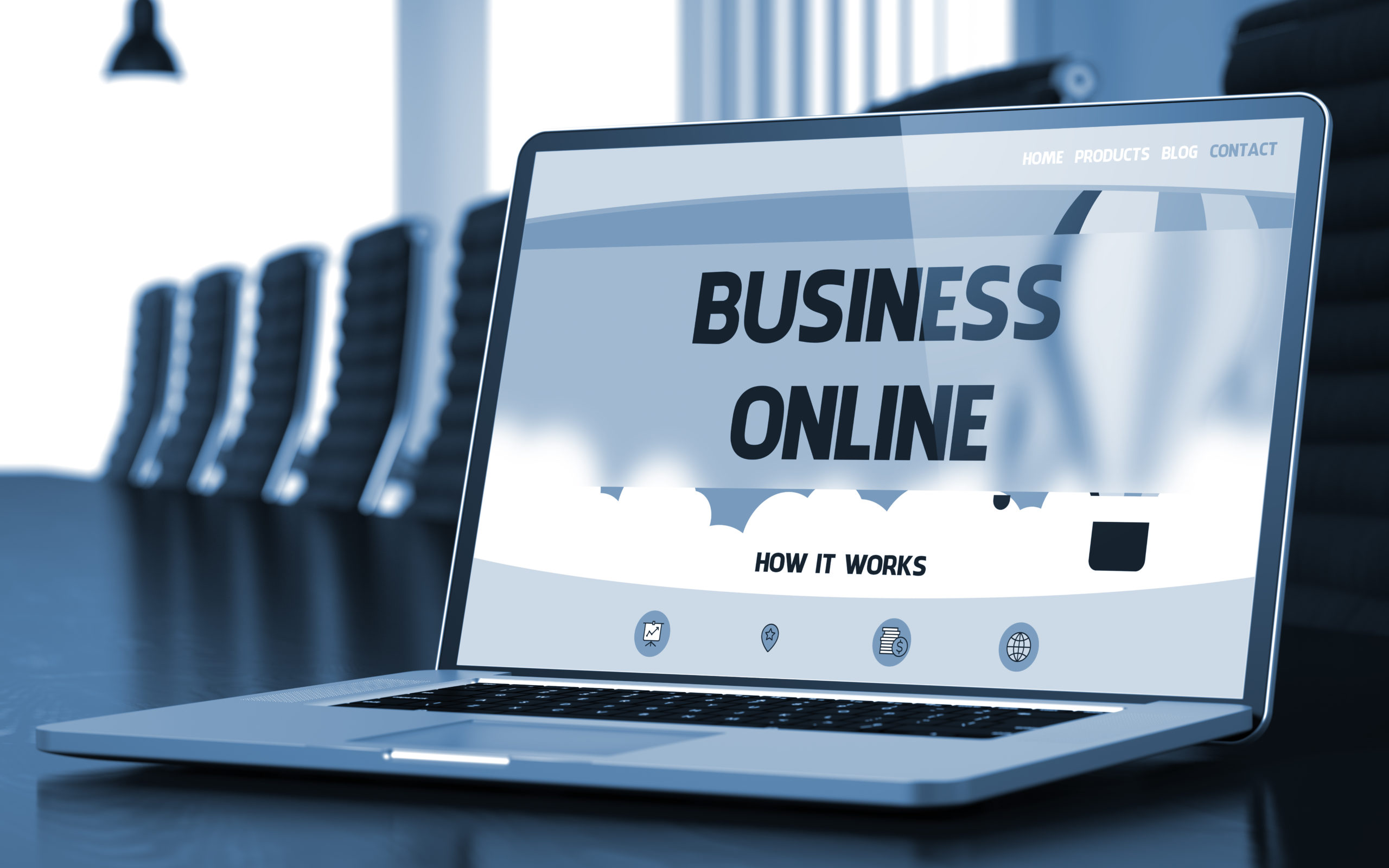 Business Online Concept. Closeup Landing Page on Laptop Screen on Background of Meeting Hall in Modern Office. Toned. Blurred Image. 3D Illustration.